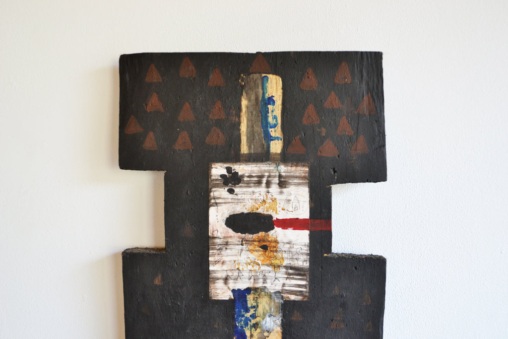 Sculpture. Oil on timber; hessian