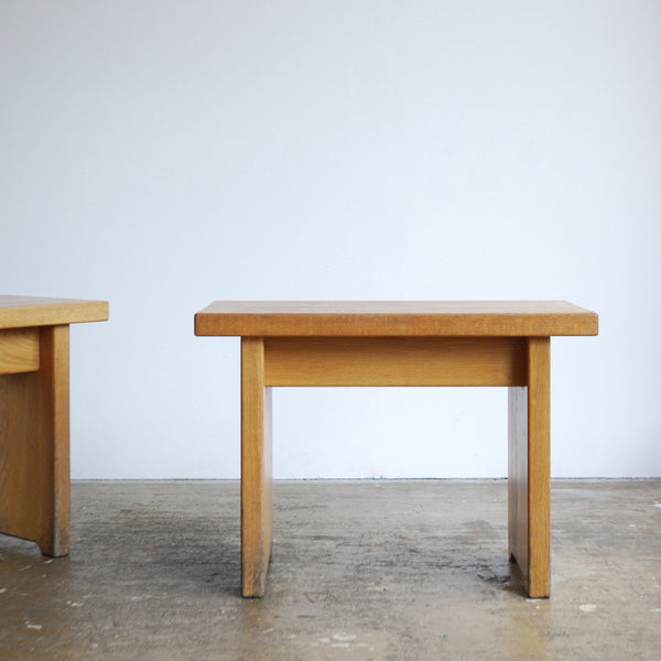 Pair of Solid Oak Stools