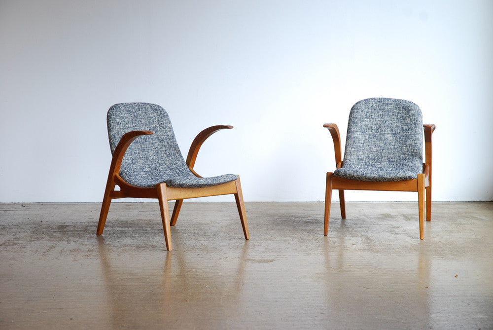 Upholstered Czech Oak Sling Chairs