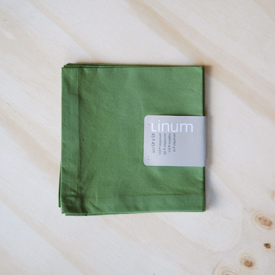 Linum Robert Napkin Set, Moss Green