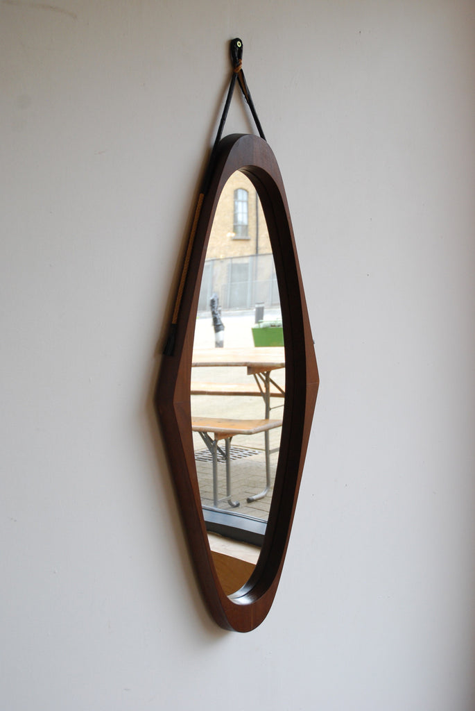 Teak Diamond Mirror