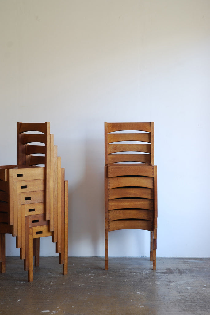 Modernist Oak Stacking Chairs, set of 6.