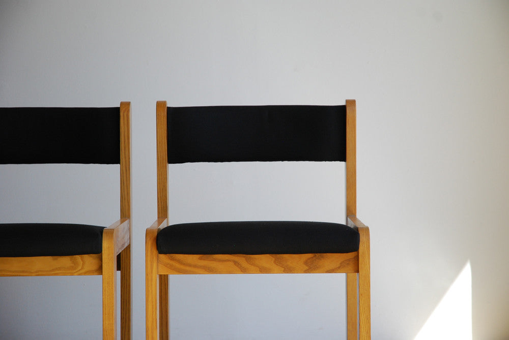 Set of 6 Oak and Canvas Chairs