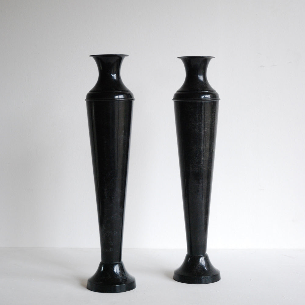 Pair of Tall Metal Vases