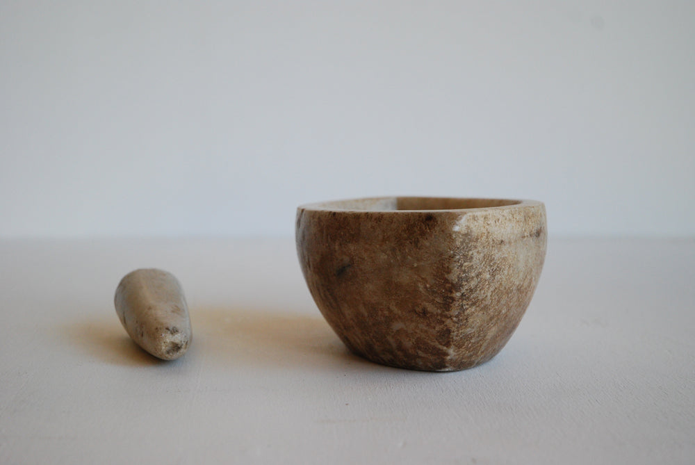 Raw Marble Pestle and Mortar