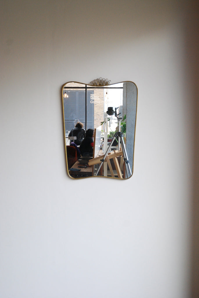 Italian Brass Shield Mirror