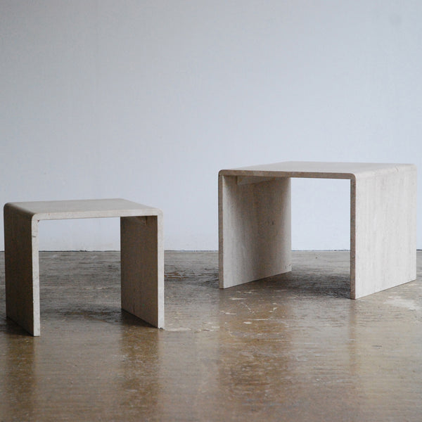 Duo of Travertine Side Tables.