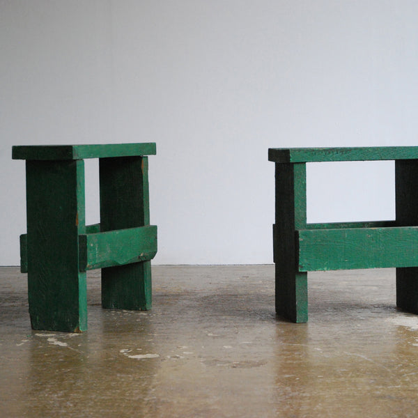 Pair of Green Timber Stools