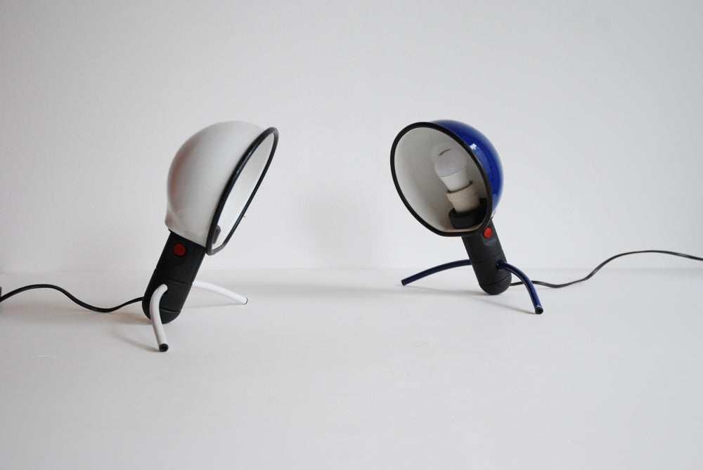 Pair of White & Blue Lamps