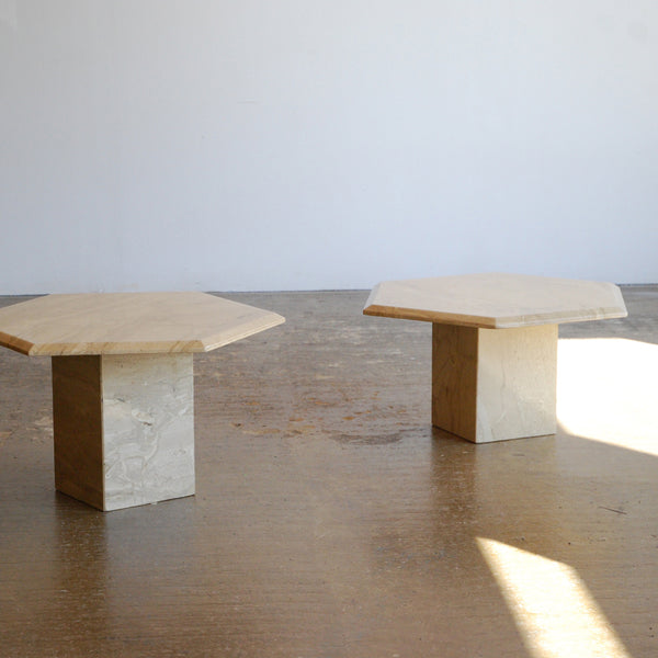 Pair of Hexagonal Marble Side Tables