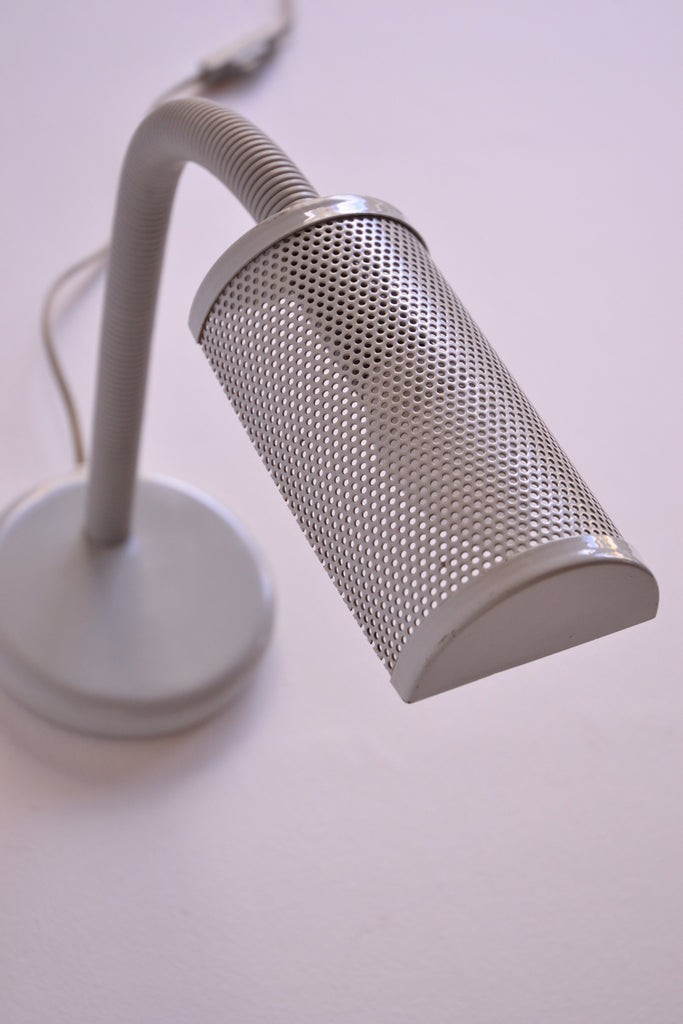 Grey Perforated Metal Desk Lamp
