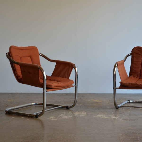 Pair of Cantilever Canvas Sling Chairs