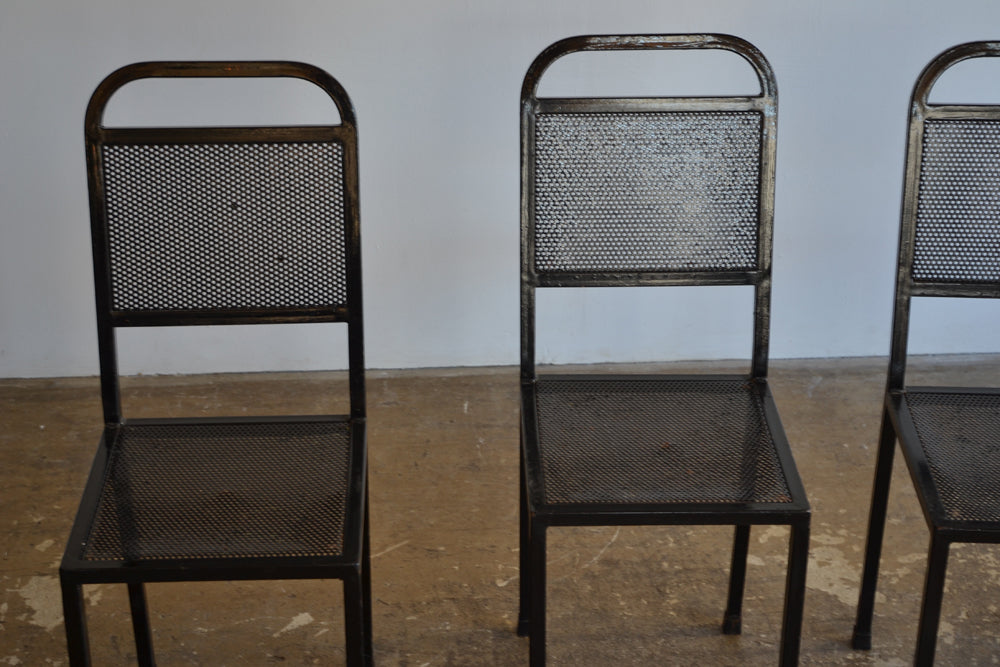 Set of 4 Perforated Metal Chairs