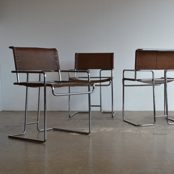 Set of 4 Italian Tubular and Leather Chairs