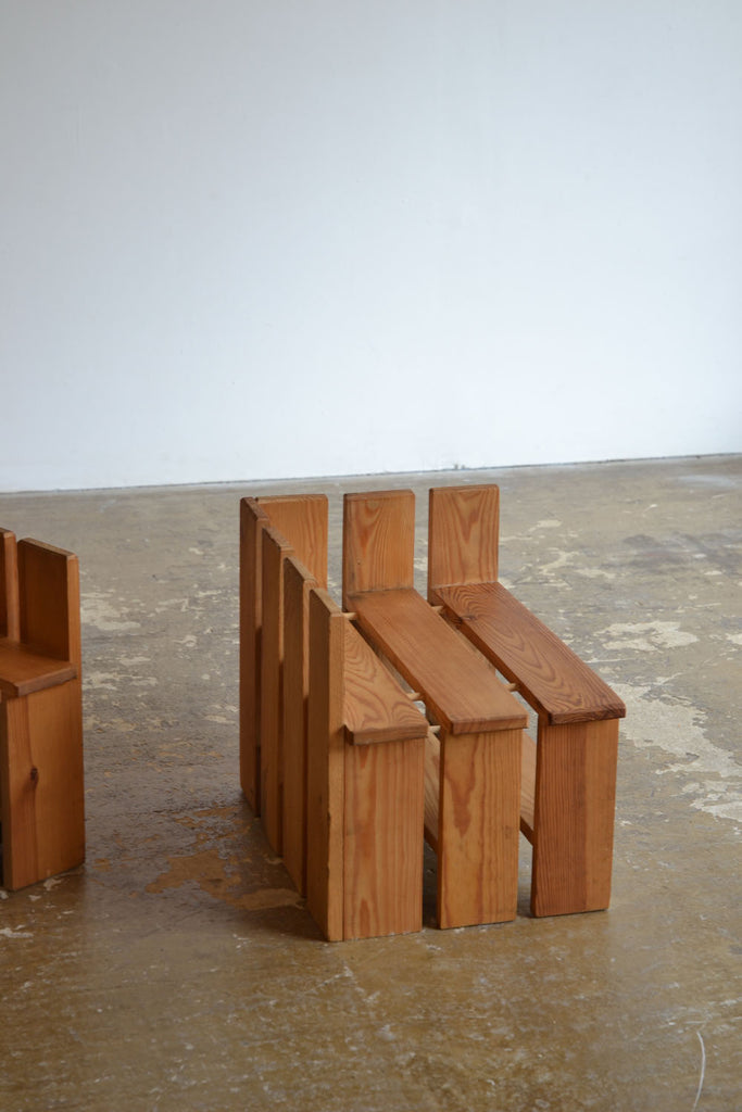 Pine Slatted Side Tables