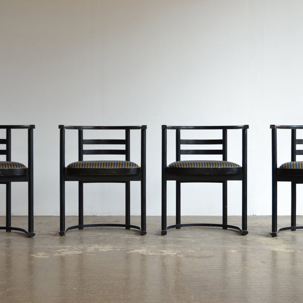Barrel Arm Dining Chairs in Manner of Josef Hoffman