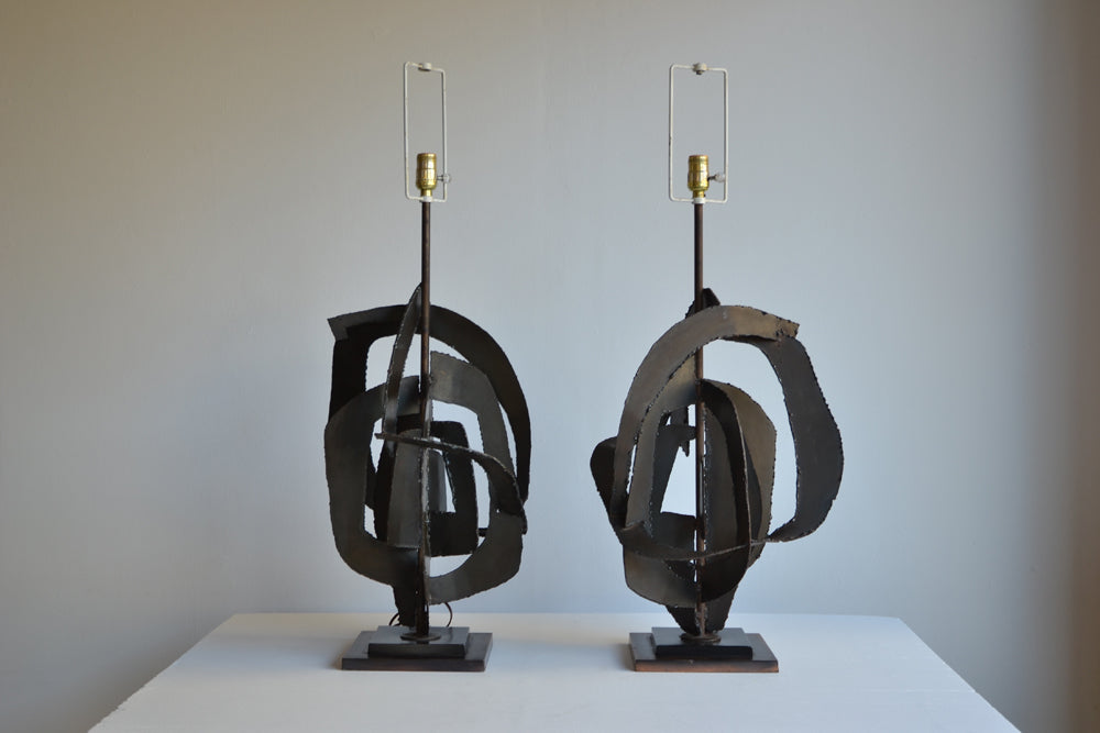 Pair of Harry Balmer Brutalist Table Lamps
