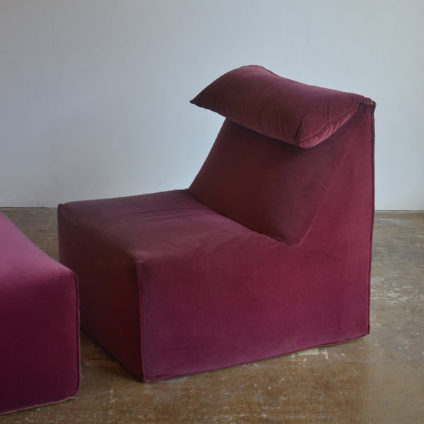 Rare Mario Bellini 'La Bambole' for BB Italia Chair and Pouffe