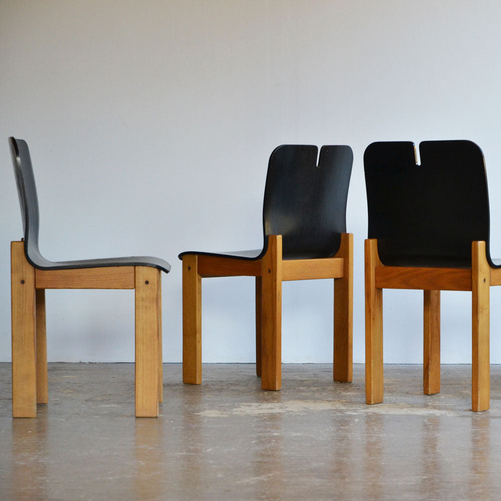 Set of 6 Italian Oak Dining Chairs