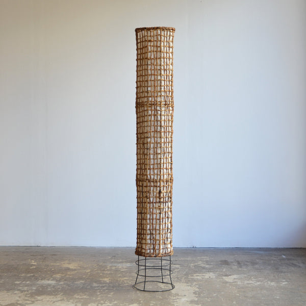 1960's Rattan Column Floor Lamp