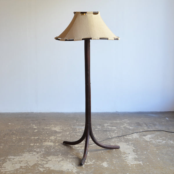1970's Timber & Canvas Floor Lamp