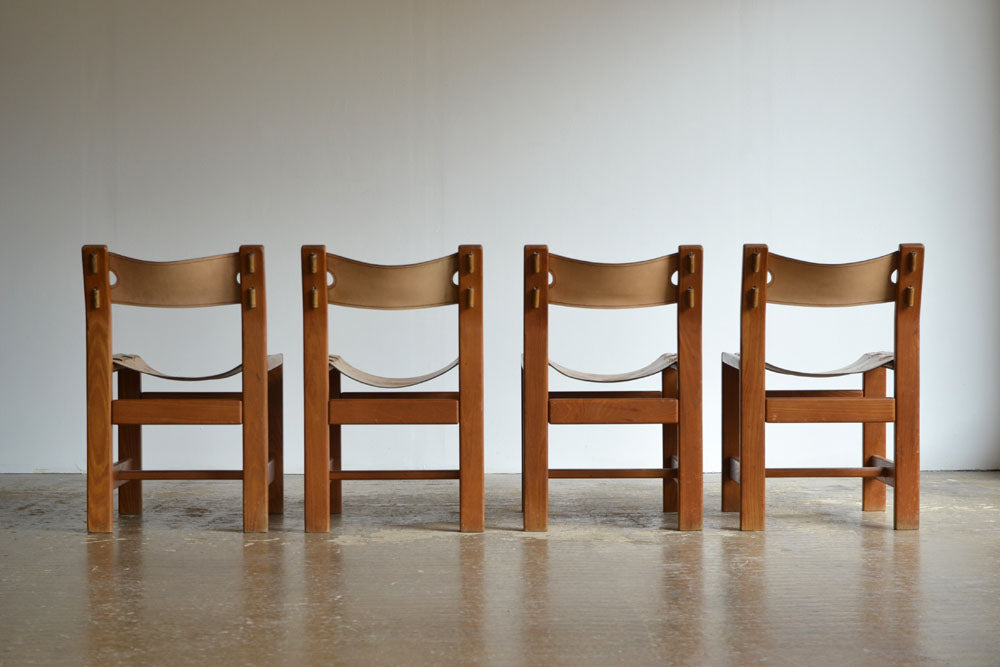 Set of 4 French Leather and Elm Dining Chairs