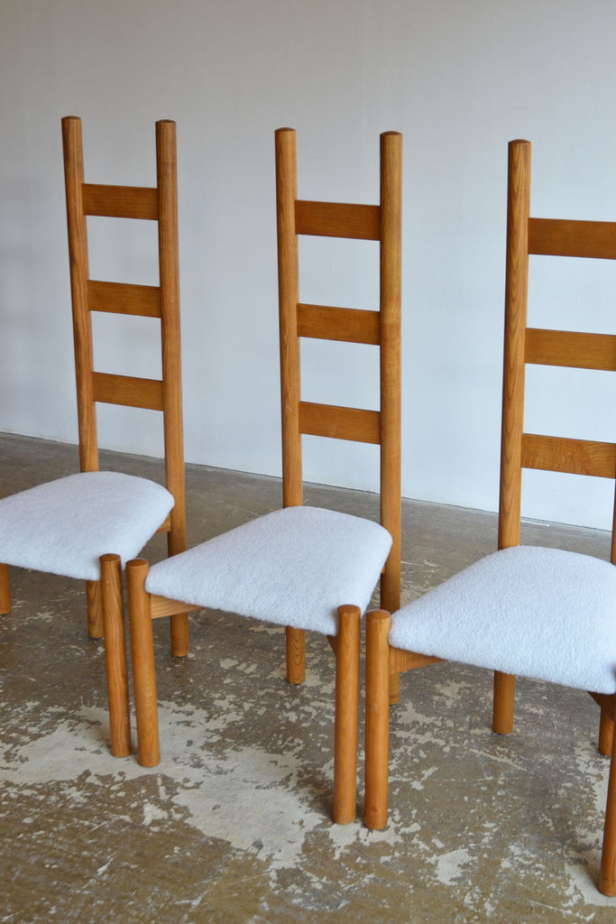 Set of 6 French High Ladderback Dining Chairs