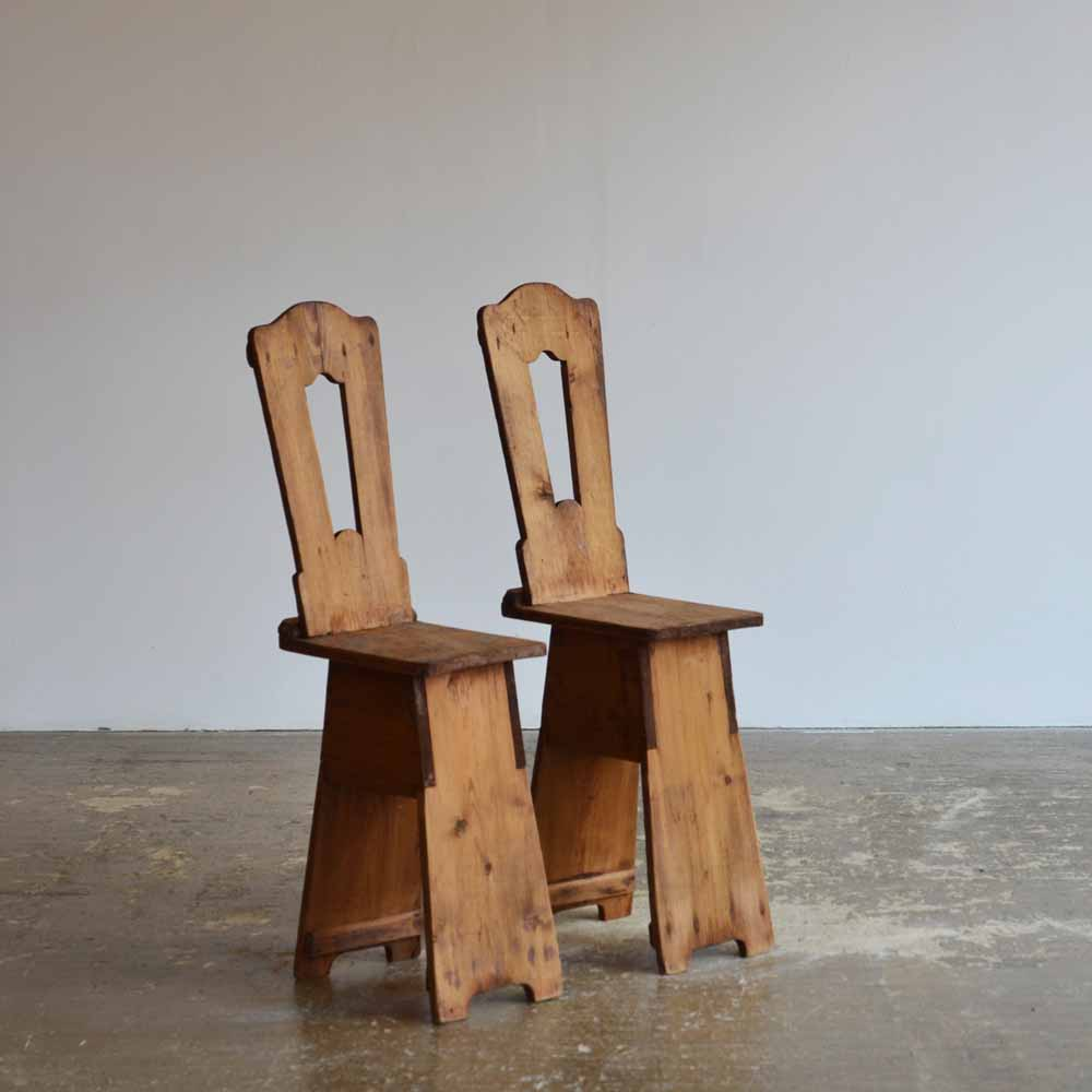 Pair of French Pine Chairs