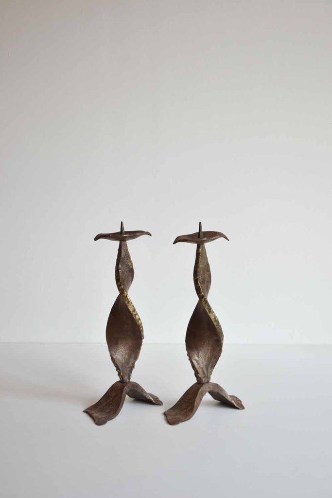 Pair of Forged Candlesticks