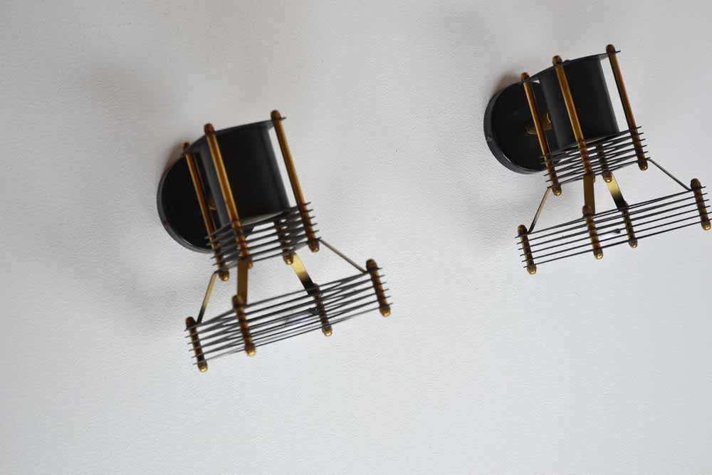 Pair of Brass and Metal Wall Spot Lights