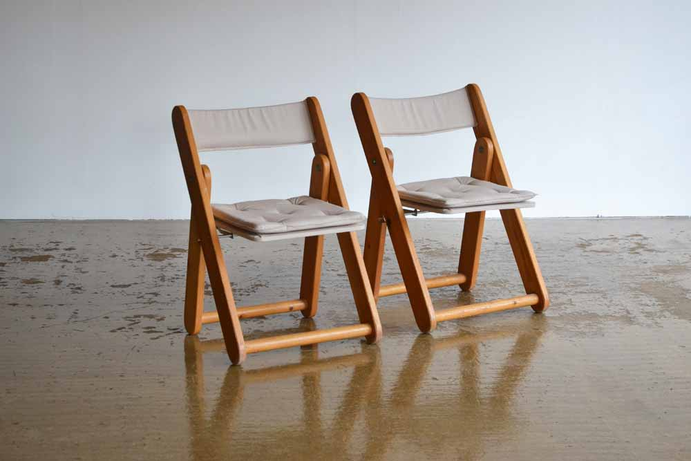 Pair of Fold Up Pine Chairs