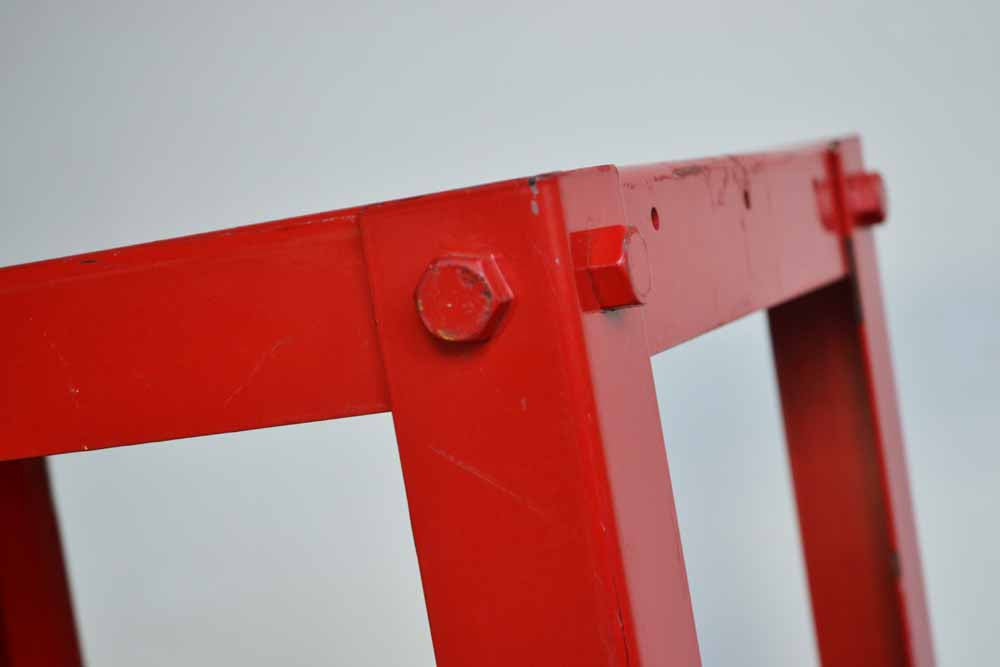 Red Metal Bolt Table