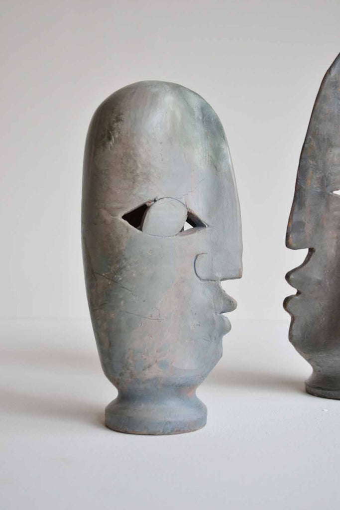 Pair of Ceramic Heads by Loul Combres