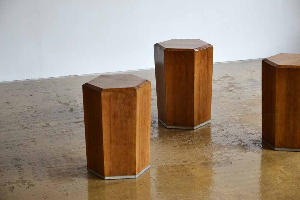 Italian Hexagonal Walnut Side Tables