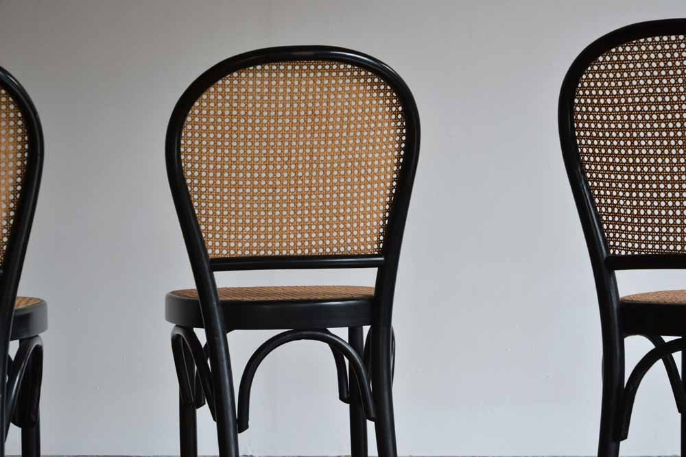 Set of 6 Bentwood Woven Cane Chairs