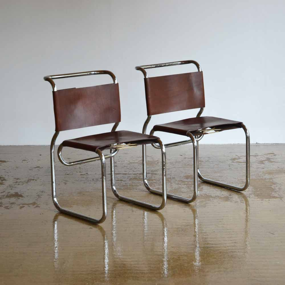Pair of CH66 Nicos Zographos Tubular Chairs