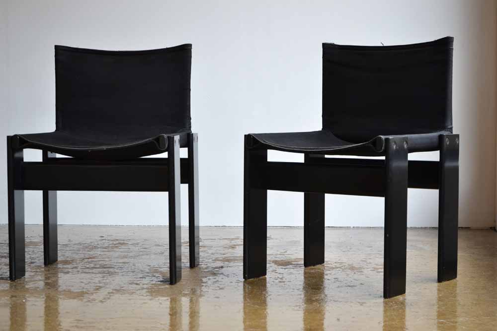 Set of 4 Black Afra & Tobia Scarpa Monk Chairs