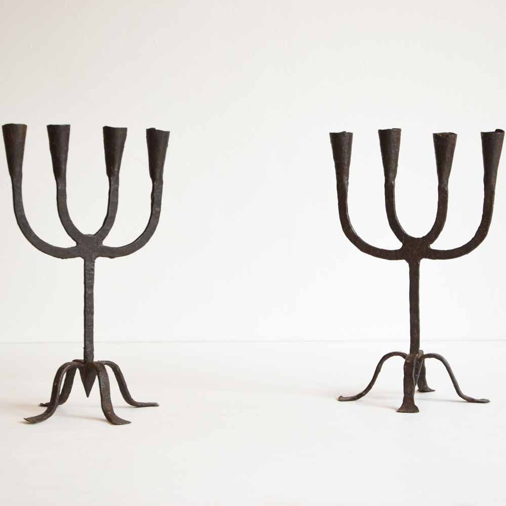 Pair of Metal Candleabras