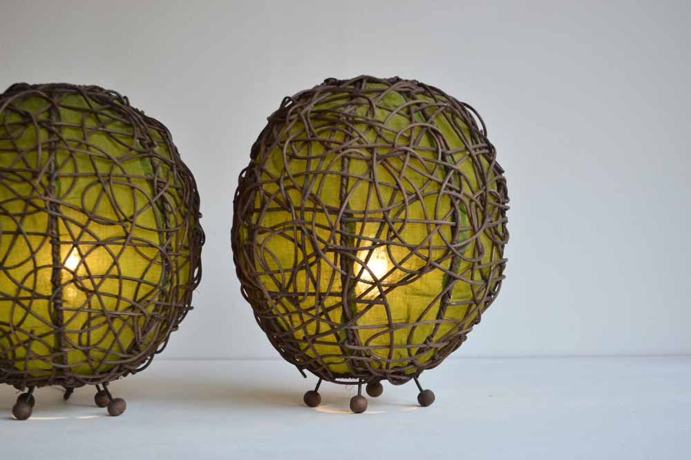 Pair of Wicker Table Lanterns