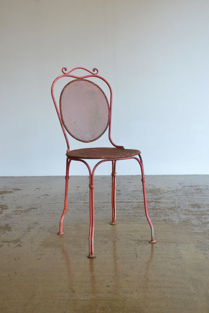 French Perforated Metal Chair