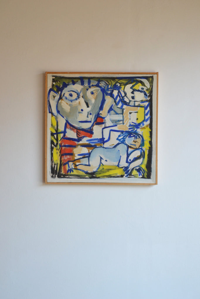Abstract figures. Oil on Canvas, 1985, Signed Le Rond