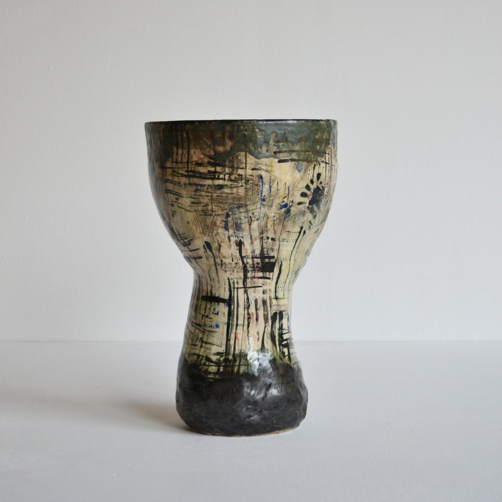 Large Handbuilt Abstract Ceramic Pot, 1958