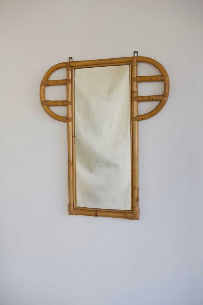 1970's Bamboo Framed Mirror