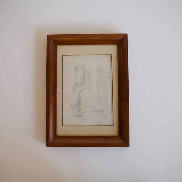 Framed Surrealist Pencil Drawing