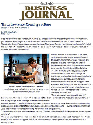 North Idaho Business Journal: Thrux Lawrence: Creating a Culture