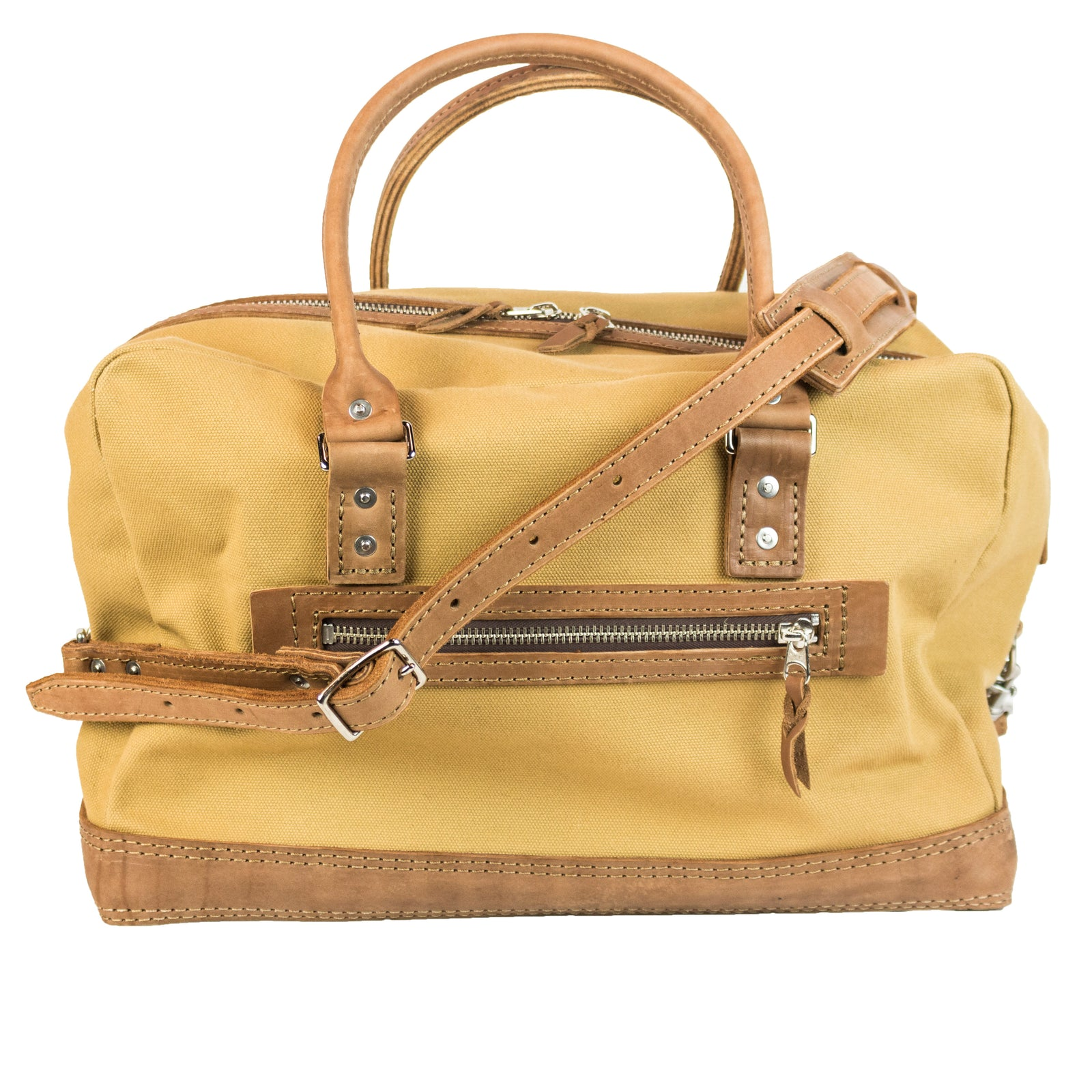 Freight Duffle | Light Brown on Khaki | Nickel Hardware