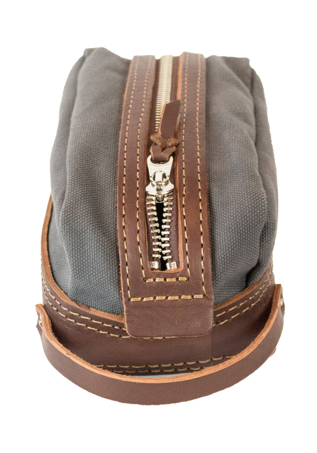 Drop Dopp | Dark Brown on Gray | Nickel Hardware