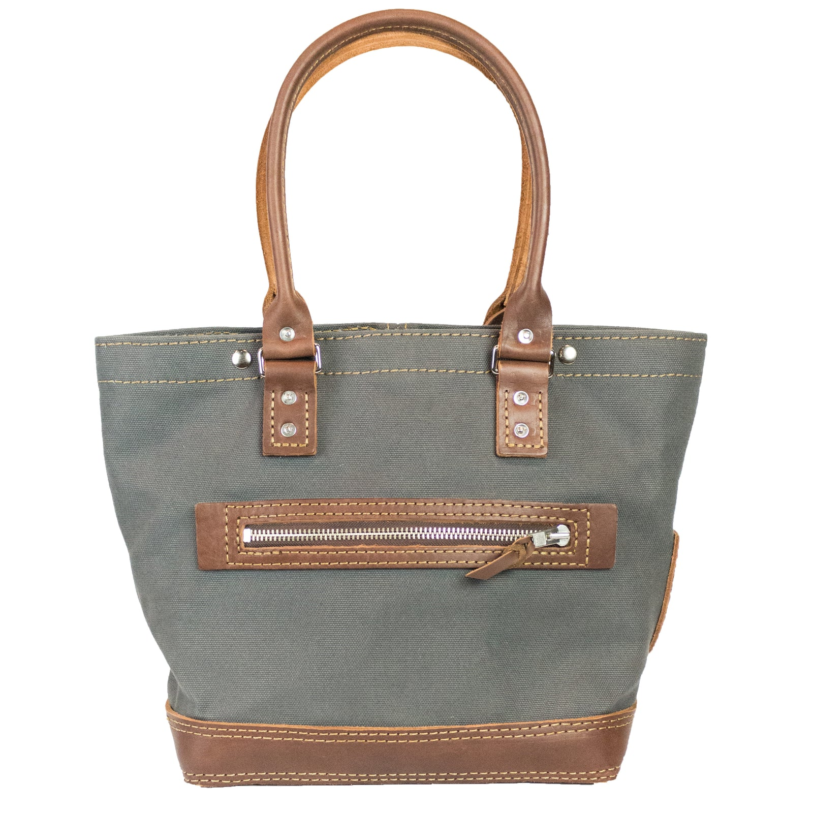 Hoist Tote | Dark Brown on Gray | Nickel Hardware