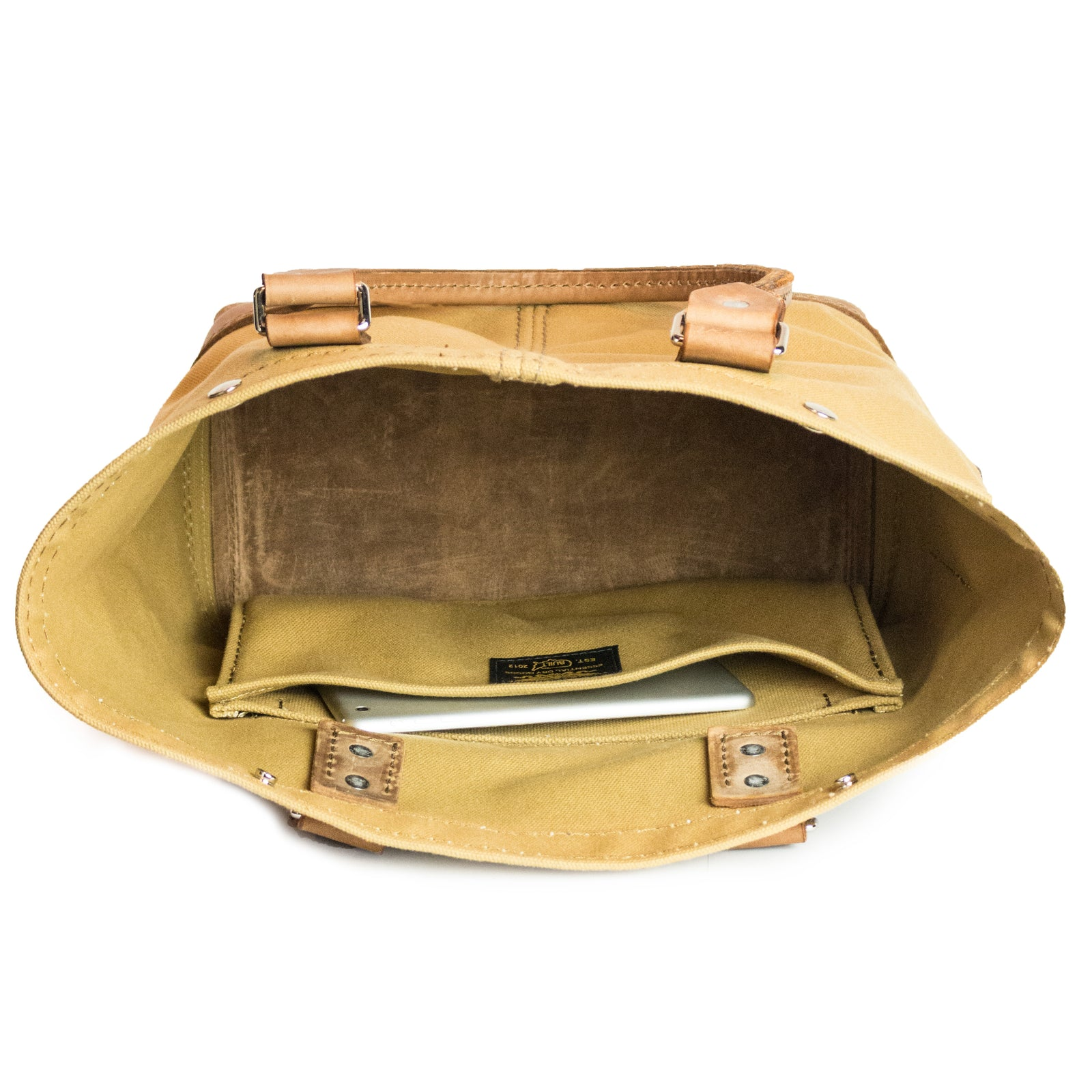 Hoist Tote | Light Brown on Khaki | Nickel Hardware