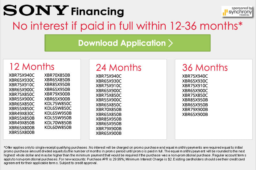Sony Financing Form